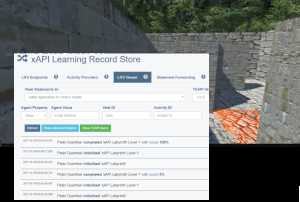 Screenshot of xAPI Labyrinth and data in Learning Record Store