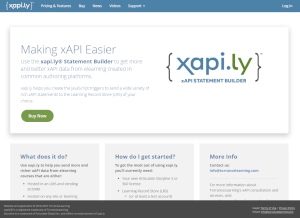 Screenshot of xapi.ly website